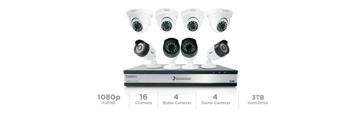 7 16 channel 8 camera 1080P wired security system G71644D3 security cameras uniden