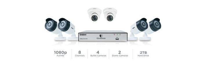 7 wired 1080P 6 camera G7842D2 security system uniden