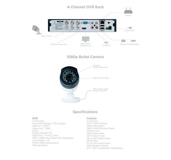 7 wired security system night vision G6440D1 security system uniden