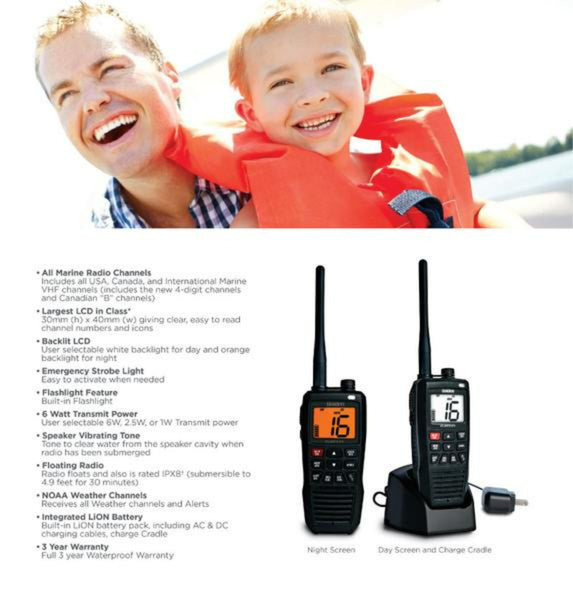 8 Handheld Two-Way Floating VHF Marine Radio Atlantis 275 Marine Radio Uniden
