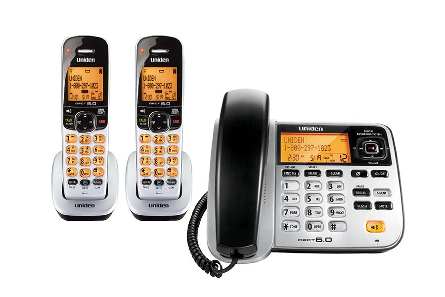 DECT 6.0 Corded/Cordless Phone with Digital Answering System. Two Handsets