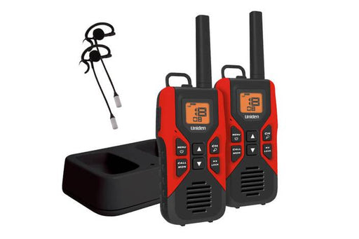 GMRS FRS two way radios charging cradle earbuds GMR3055-2CKHS walkie talkie uniden