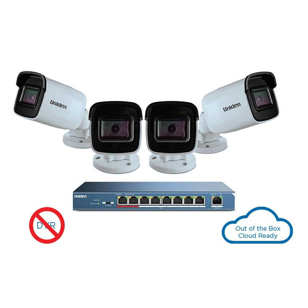 UC8400, 4 Camera 1080p Outdoor Security Cloud System with 9-port PoE switch Uniden