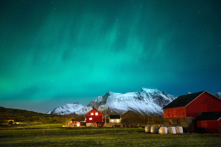 Aeroture Northern Lights Aurora Nothern Norway Tours Farm and red cottage Michael Haluwana Arctic