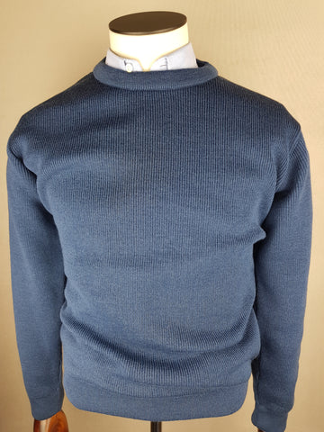 Wool Crew Neck Knitwear Denim By Tricot Marine