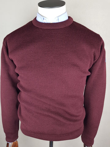 Wool Crew Neck Plum Knitwear By Tricot Marine
