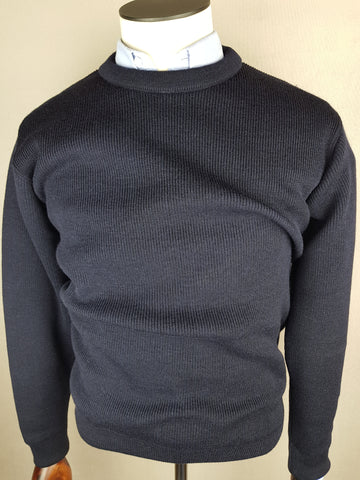 Wool Crew Neck Navy Knitwear By Tricot Marine