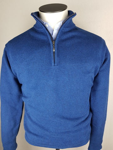 1/4 Zip Knitwear By Tricot Denim Blue