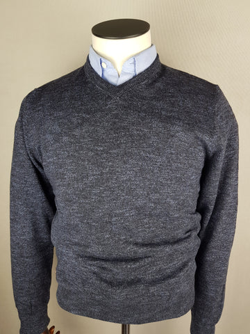 MDV V-Neck Dark Navy Knitwear By 6th Sense