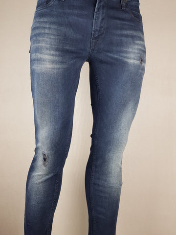 Liam Skinny Dark Blue Ripped Denim By Jack & Jones