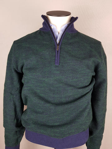 Fisher 1/4 Zip Green/Navy Trim knitwear By 6th Sense