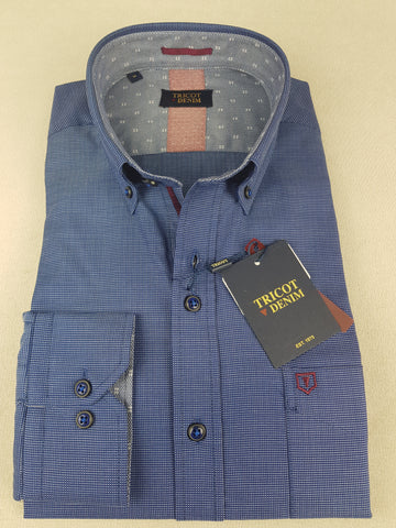DL18L01 Casual Navy Print Shirt By Tricot Denim