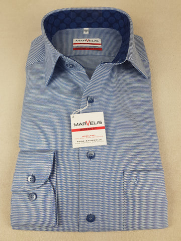 Formal Blue Patterned Shirt By Marvelis 7228/24/11