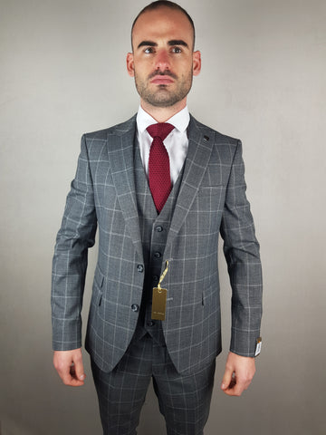 Zidane Grey Check Suit By Benetti