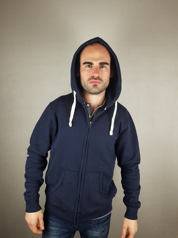 Jespace Navy Sweat Zip Hood By Jack & Jones