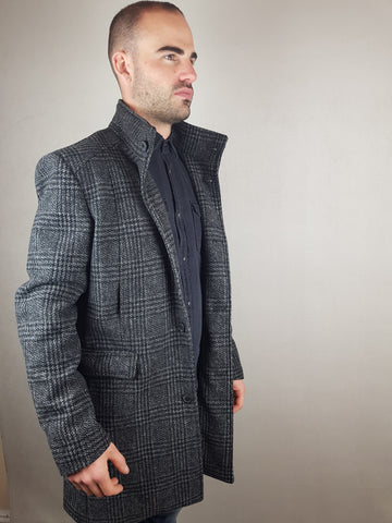 Mosto Wool Fashion Check Coat Black/Grey By Selected