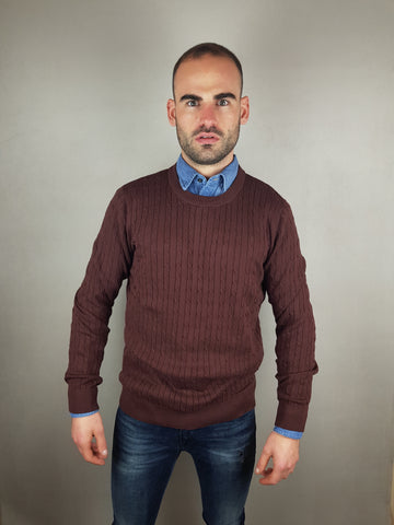 Clayton Crew Neck Knitwear Bitter Chocolate By Selected