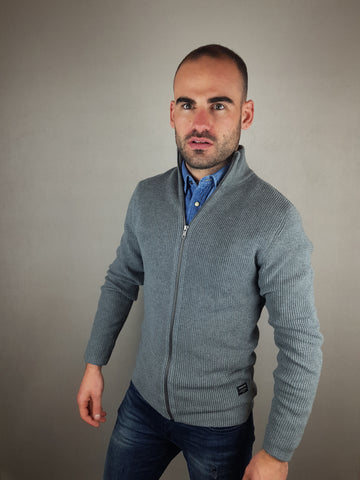 Jer Ribbed Grey Knit Cardigan By Jack & Jones