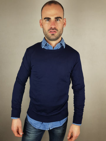 Tower Merino  Wool Crew Neck Navy Knitwear By Selected *OY>LM*