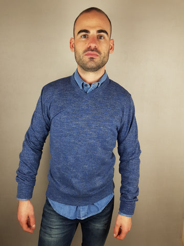 MDV V-Neck Indigo Knitwear By 6th Sense