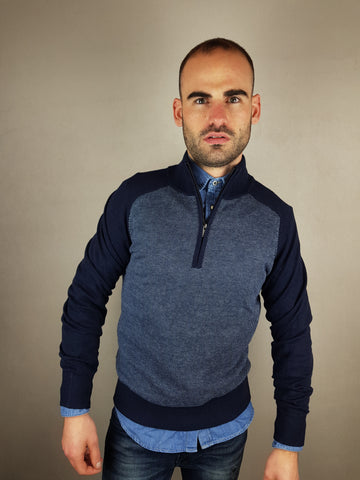 Ivan 1/4 Zip Knitwear Navy/Powder Blue182/ By 6th Sense