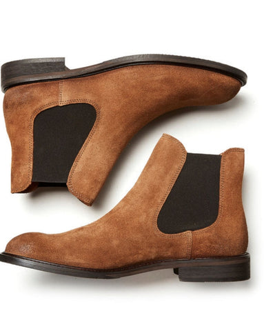 Baxter Suede Chelsea Boot Cognac By Selected