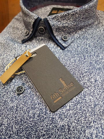 Luxury Print Navy Shirt By 6th Sense
