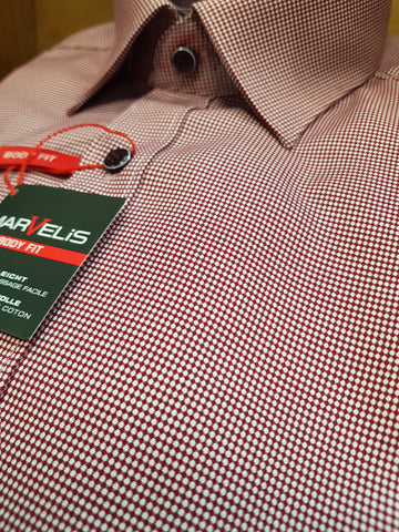 Formal Red/White Pin Dot Shirt By Marvelis 7502/24/38