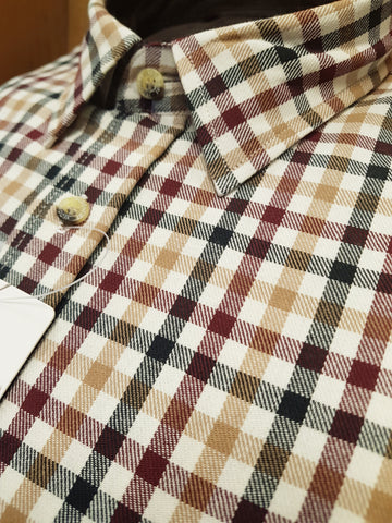 Brushed Cotton Plaid Shirt Brown Shirt By Vedoneire