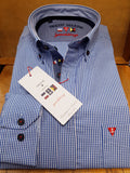 Blue Gingham Casual Check Shirt By Tricot Marine
