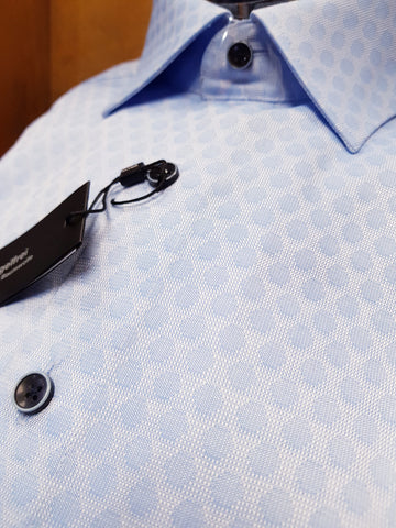 Formal Disc Patterned Blue Shirt By Olymp 1232/24/11