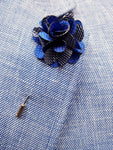 Flower Lapel Pin Royal Blue By Michelsons