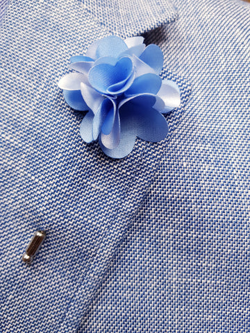 Flower Lapel Pin Pale Blue By Michelsons