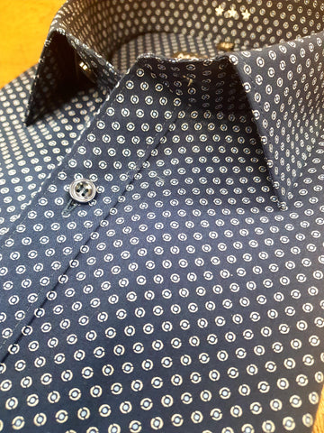 Navy Fashion Print Shirt By Marvelis 7516/34/18
