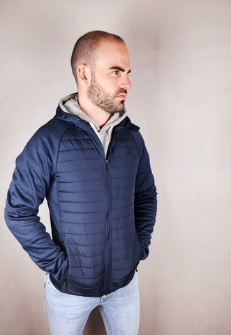 Multi Quilted Navy Jacket By Jack & Jones