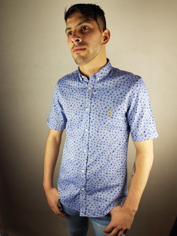 Blue Bird Print S/S Shirt By 6th Sense