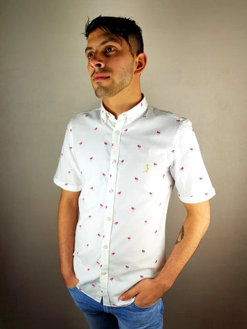 White Flamingo Short Sleeve Shirt By 6th Sense