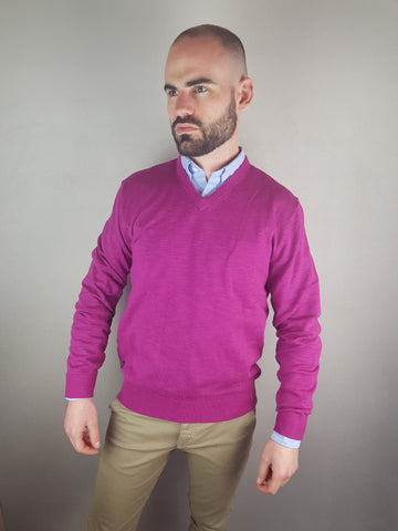 Berry V Neck Knitwear By 6th Sense
