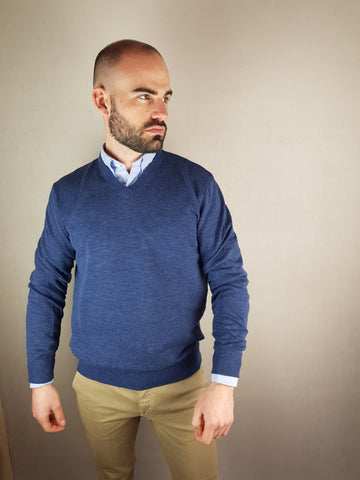 Mid Blue V Neck Knitwear By 6th Sense