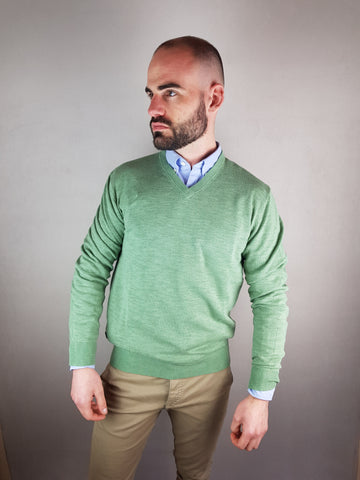 Green V Neck Knitwear By 6th Sense