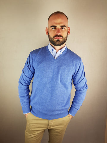 Blue V Neck Knitwear By 6th Sense
