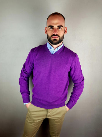 Purple V Neck Knitwear By 6th Sense