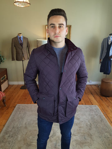 Quilted Purple Casual Jacket By Vedoneire