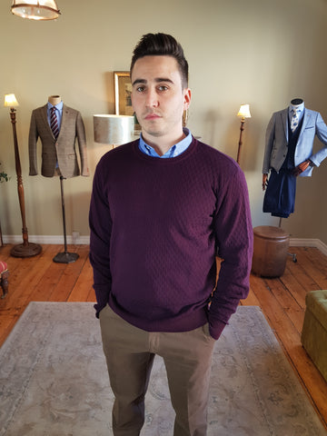 1925M 402 Plum Crew Neck Knitwear By Tricot Denim