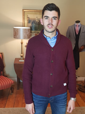 Rider Wine Shawl Neck Cardigan By Jack & Jones