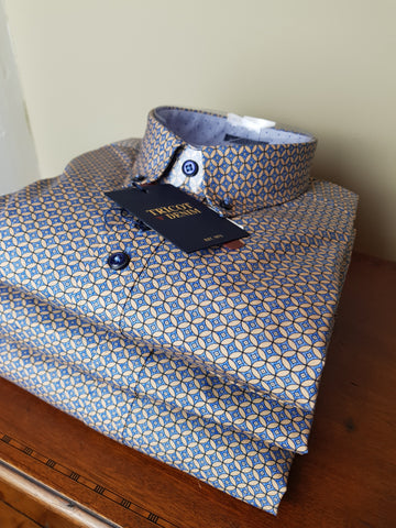 LO1 10 Blue/Gold Print Shirt By Tricot Denim
