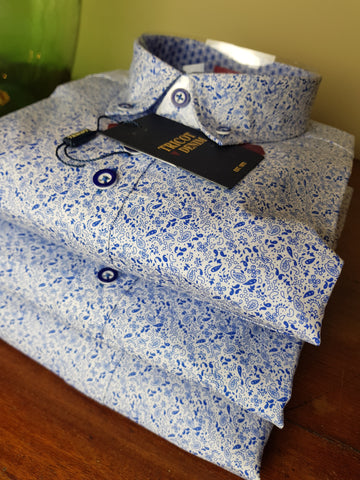 LO1 06 Blue Paisley Print Shirt By Tricot Denim