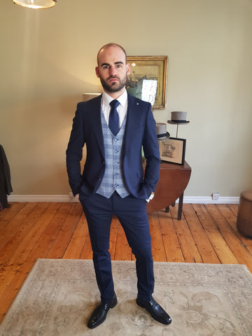 Baker Navy 3 Piece Suit By Benetti