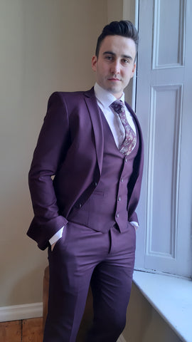 Emmett Wine 3 Piece Suit By Benetti