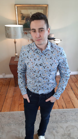 Bird Print Blue Shirt By A Fish Named Fred